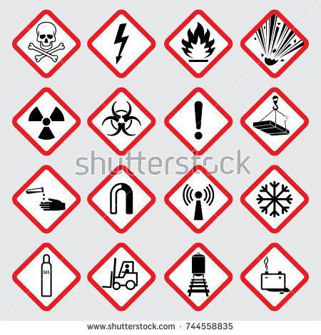 Stock Vector Warning Hazard Vector Pictograms Illustration Of Danger Caution Symbol Toxic And Poison Pictogram Vector Emoji Symbols