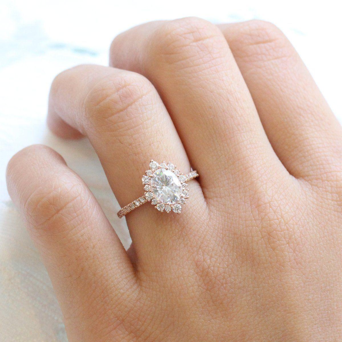 Tiara Halo Ring In Pave Band W Oval Moissanite And Diamond Halo Diamond Ring Set Matching Wedding Rings Diamond Alternative Engagement Ring