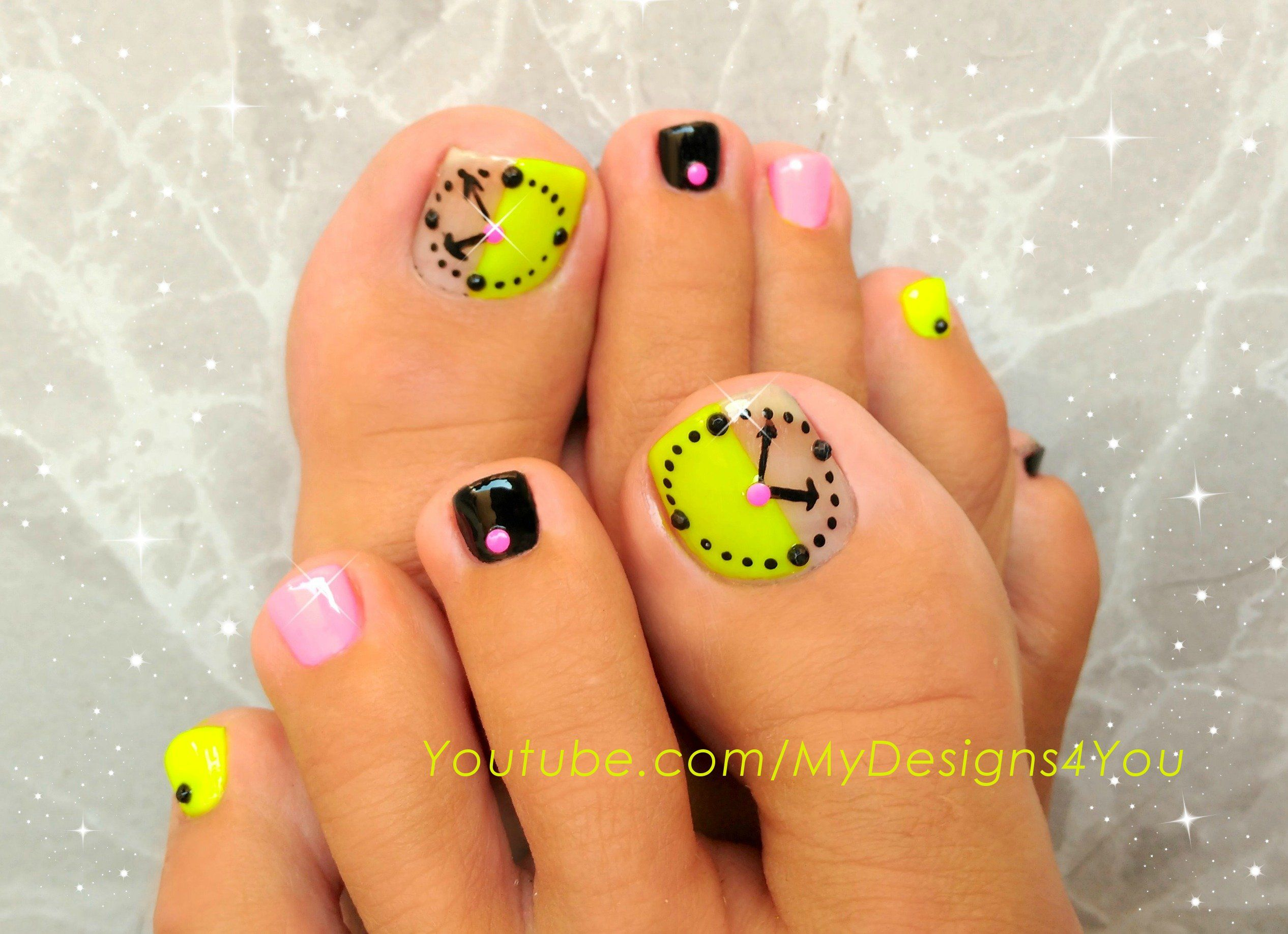 Fun Neon Clock Toenail Art Design Pedicure Nailart Nails Toenailart