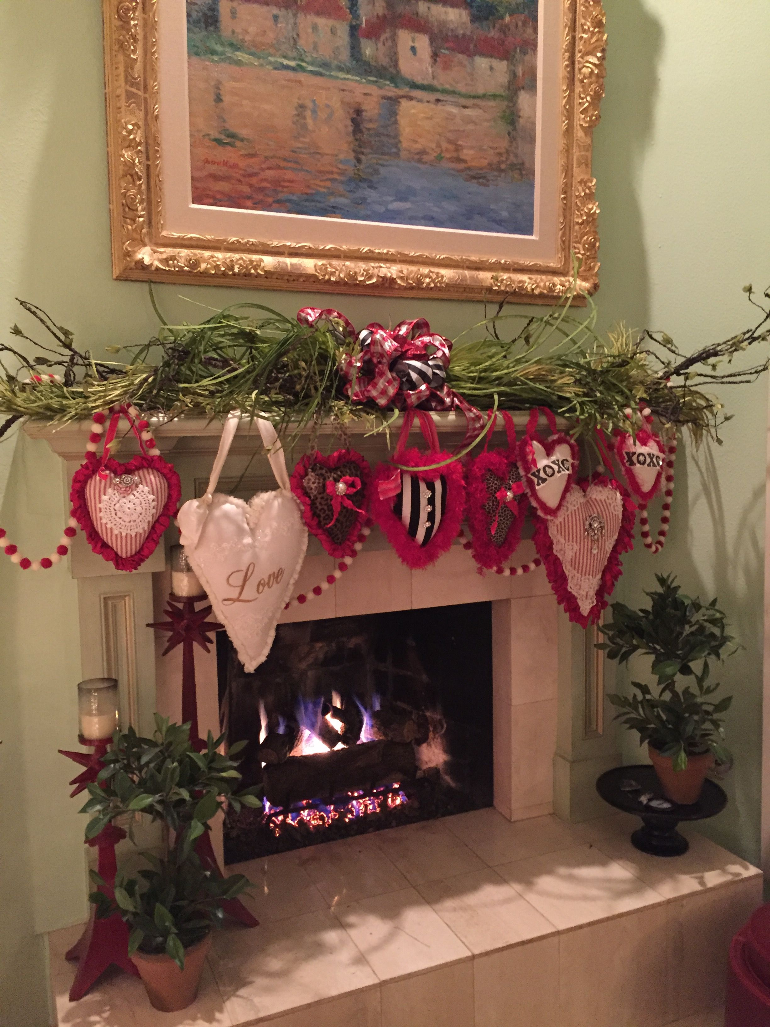The Chic Technique Valentines Day Fireplace Mantel Decor  Valentines Day  Valentine