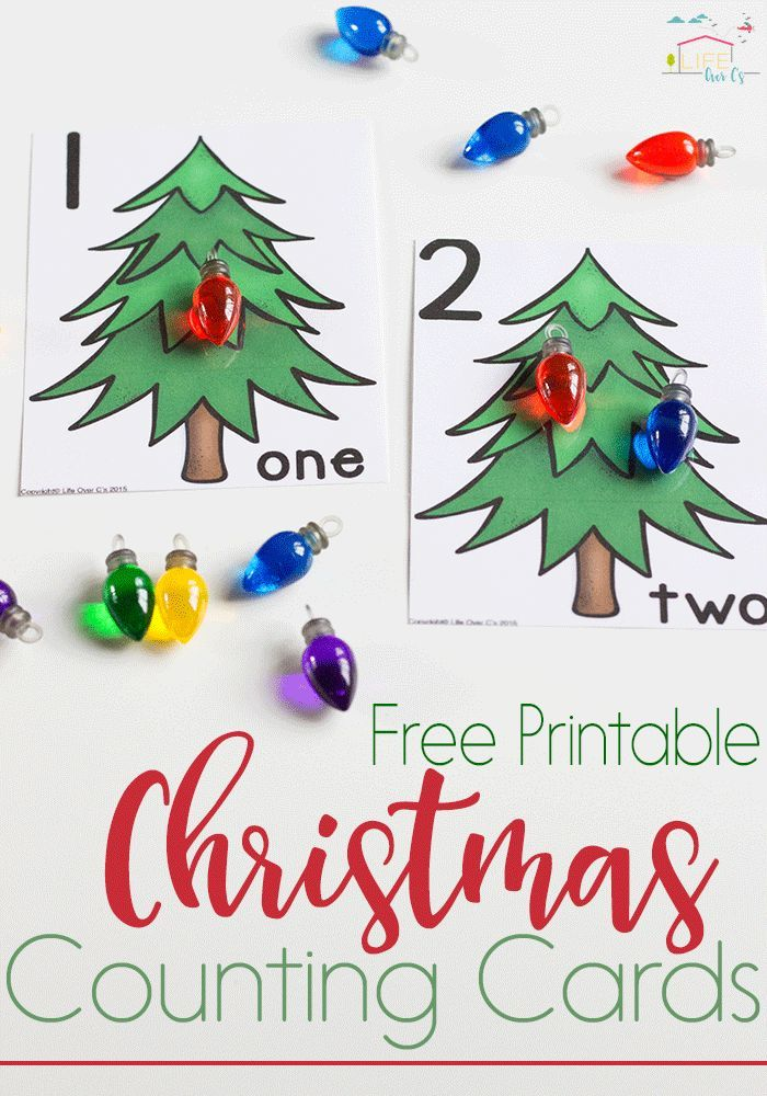 These Free Printable Christmas Lights Counting Cards For Numbers 1 10 Are Perfect For Starting One On O Preschool Christmas Christmas Activities Counting Cards