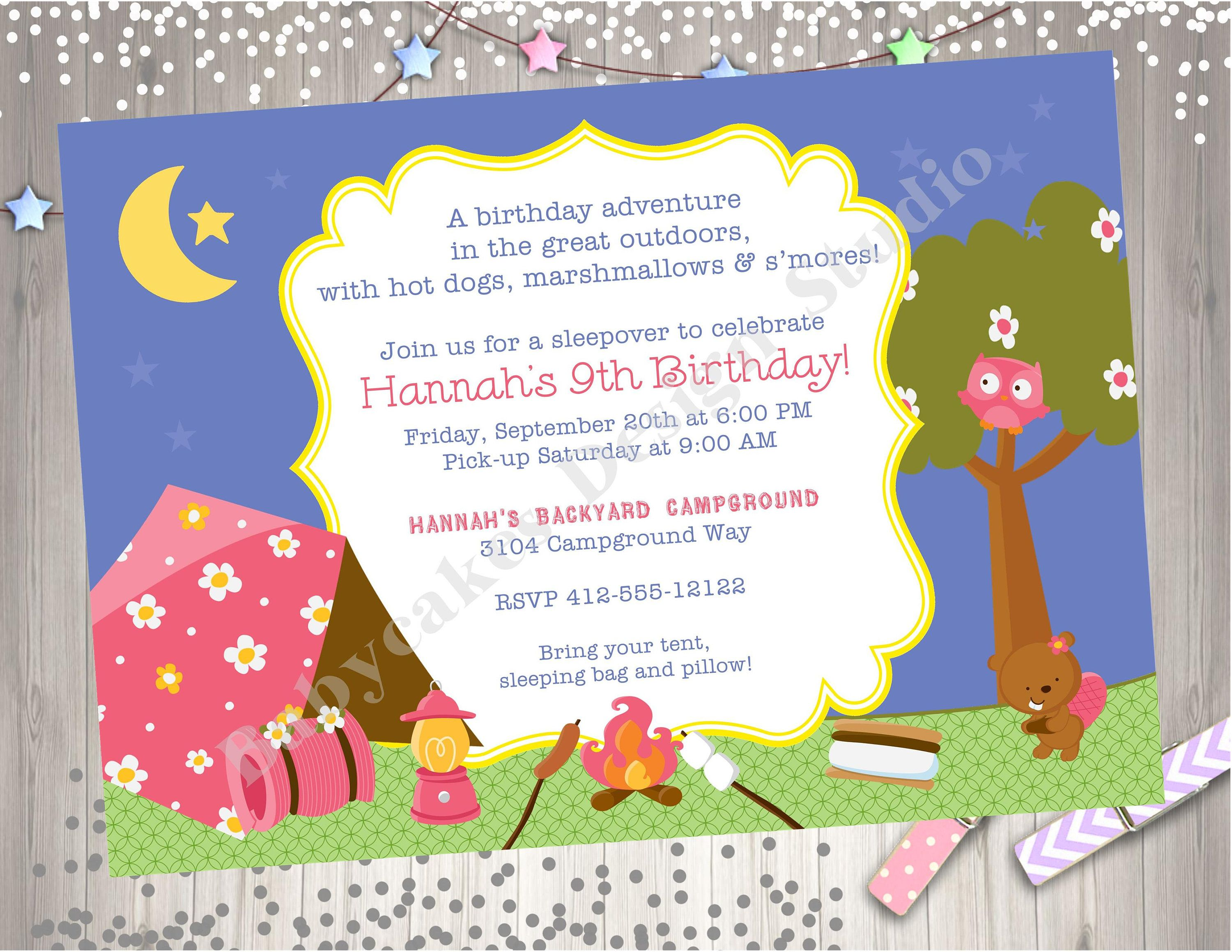 Girl Camping Birthday Invitation girl camping invitations bonfire ...