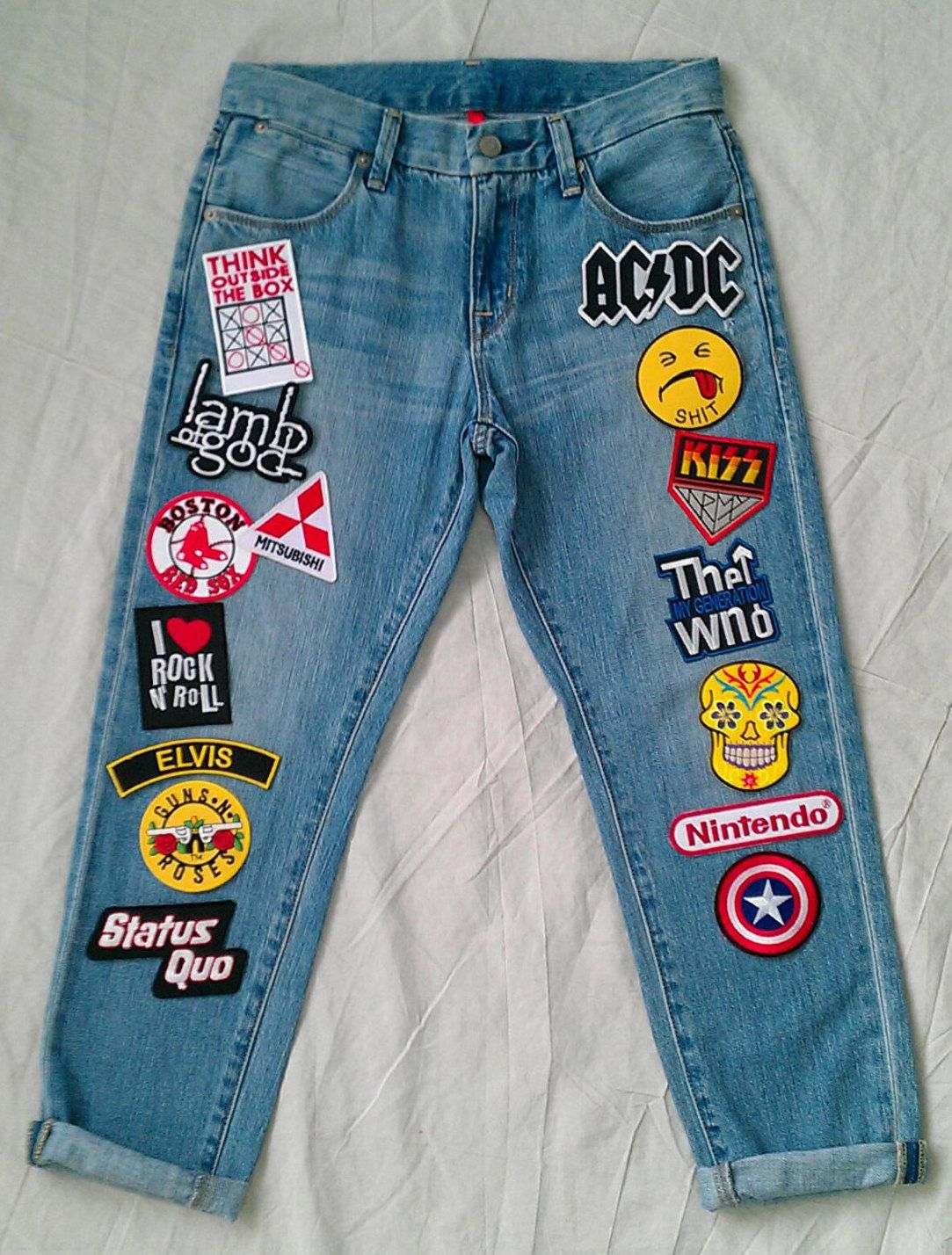 patched denim patched jeans reworked vintage jeans