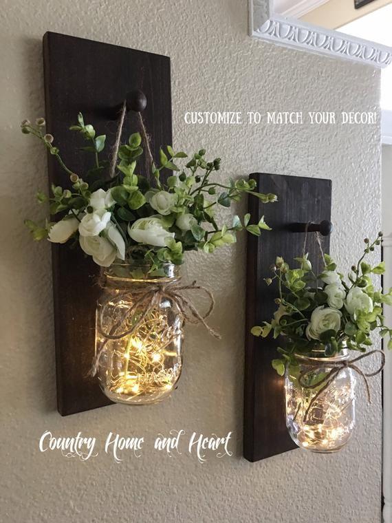 Home Decor, Mason Jar Sconces, Mason Jar Decor, Farmhouse Wall Decor, Rustic Wall Decor, Home Decor, Farmhouse Living Room Decor, Sconce #farmhousedecor