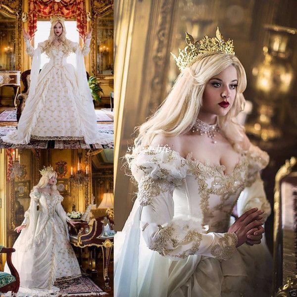 Discount Vintage Medieval Celtic Wedding Dress 2017 Custom Made Off