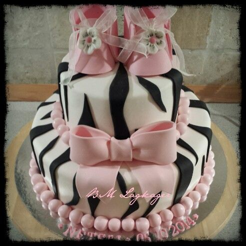 Zebra print girl cake baby shower cakes Pinterest Girl cakes