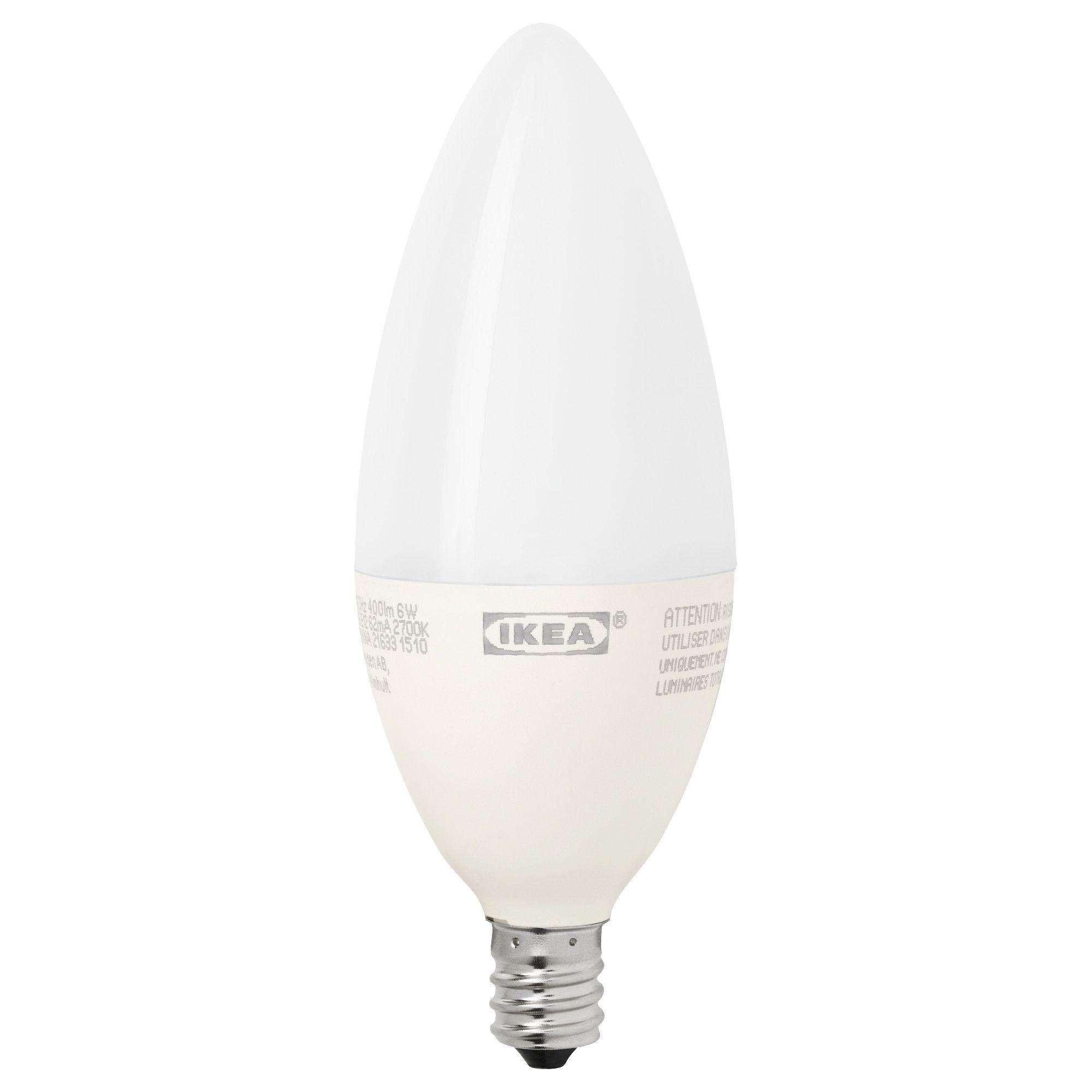 IKEA - LEDARE LED bulb E12 400 lumen dimmable, chandelier opal white ...