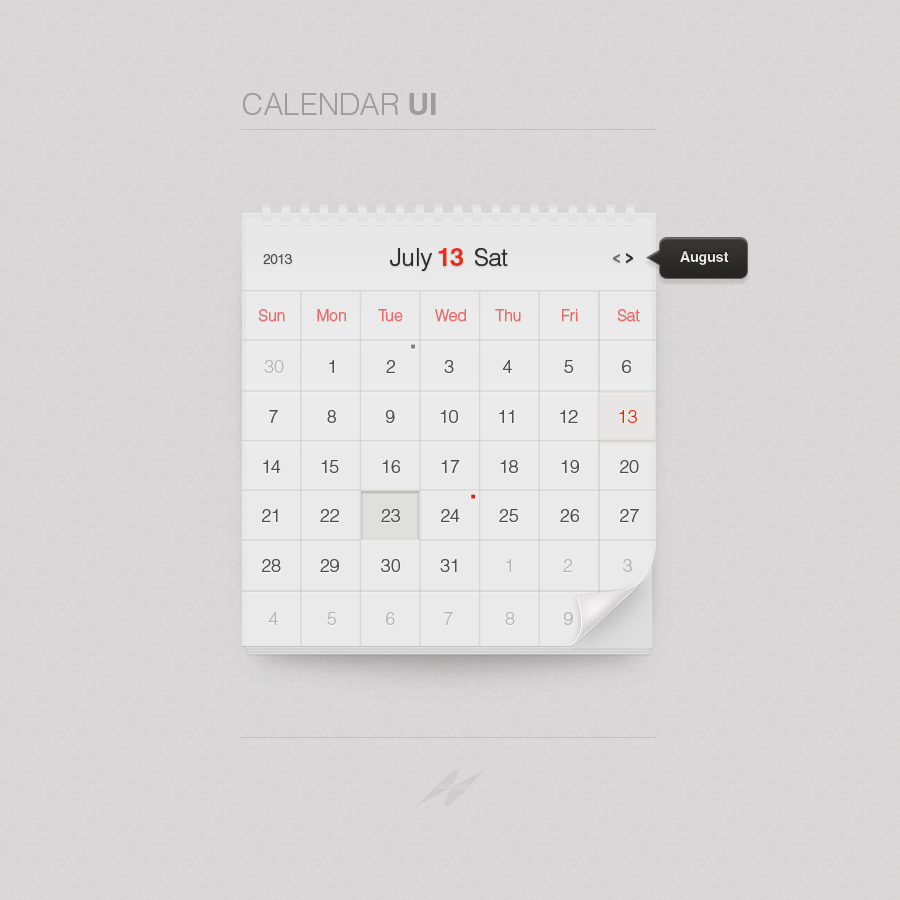Forrst | Minimal Calendar UI - A post from gbaheti