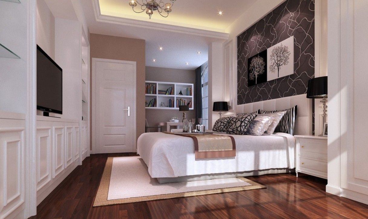 White And Wood Bedroom white bedrooms | bedroom white walls wood floor rendering, love