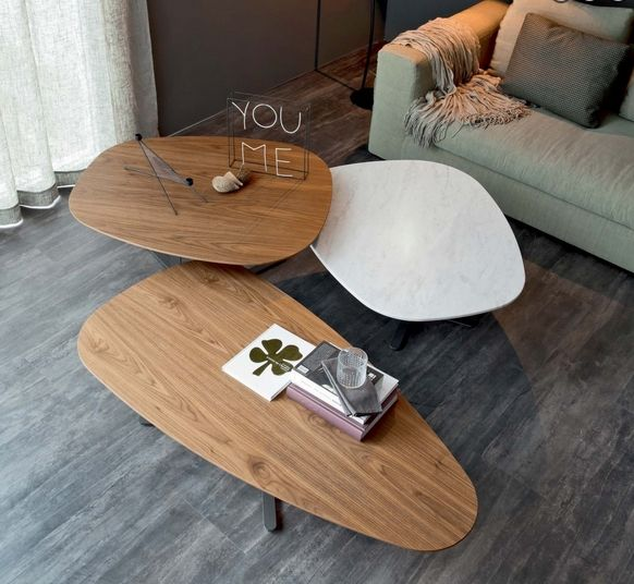Couchtisch Modernes Design Holz Marmor Weiss Kombination