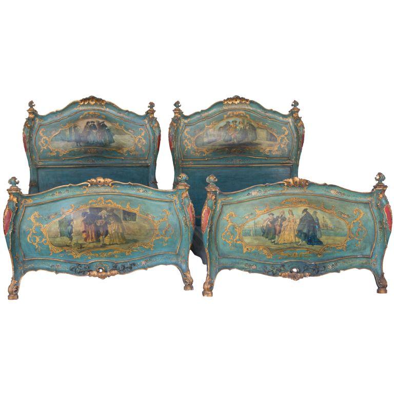 Pair Of Venetian Italian Twin Headboard & Footboard Beds-shipping included  | 1stdibs.com. Antique BedsAntique FurniturePainted ... - Pair Of Venetian Italian Twin Headboard & Footboard Beds-shipping