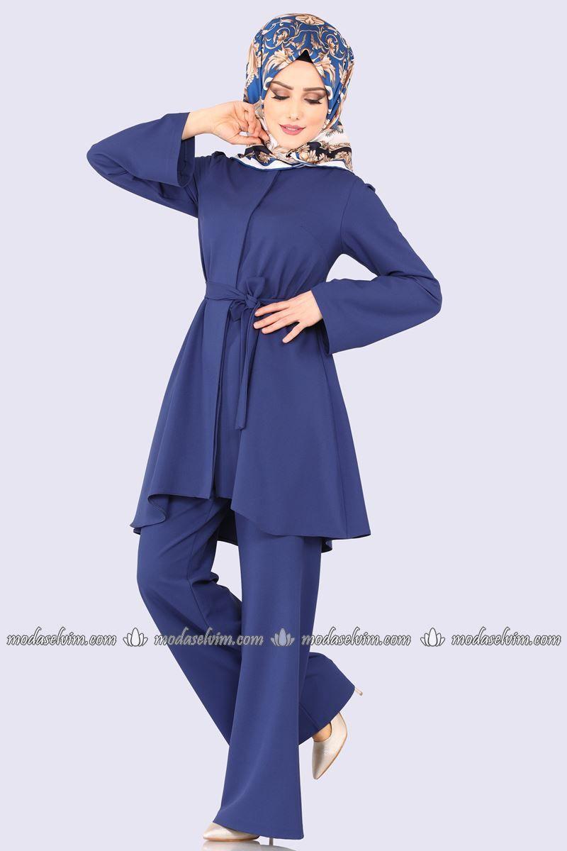 Moda Selvim Kemerli 2 Li Kombin 143afl378 Indigo Hijab