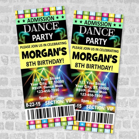 Printed Ticket Dance Party Invitation, Custom Boy or Girl Dance - party ticket template free