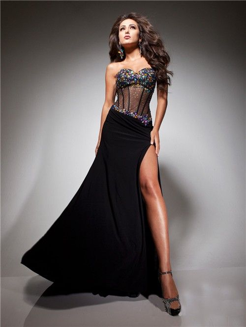 Long Black Corset Dress