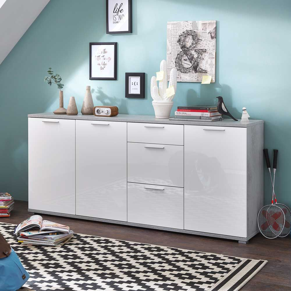 Sideboard Betonoptik Sideboard In Weiß Hochglanz Beton Grau 190 Cm Jetzt Bestellen Unter: Https://moebel.ladendirekt.de/wohnzimmer/schraenke/sideboards/?… | Home Decor, Sideboard, Decor