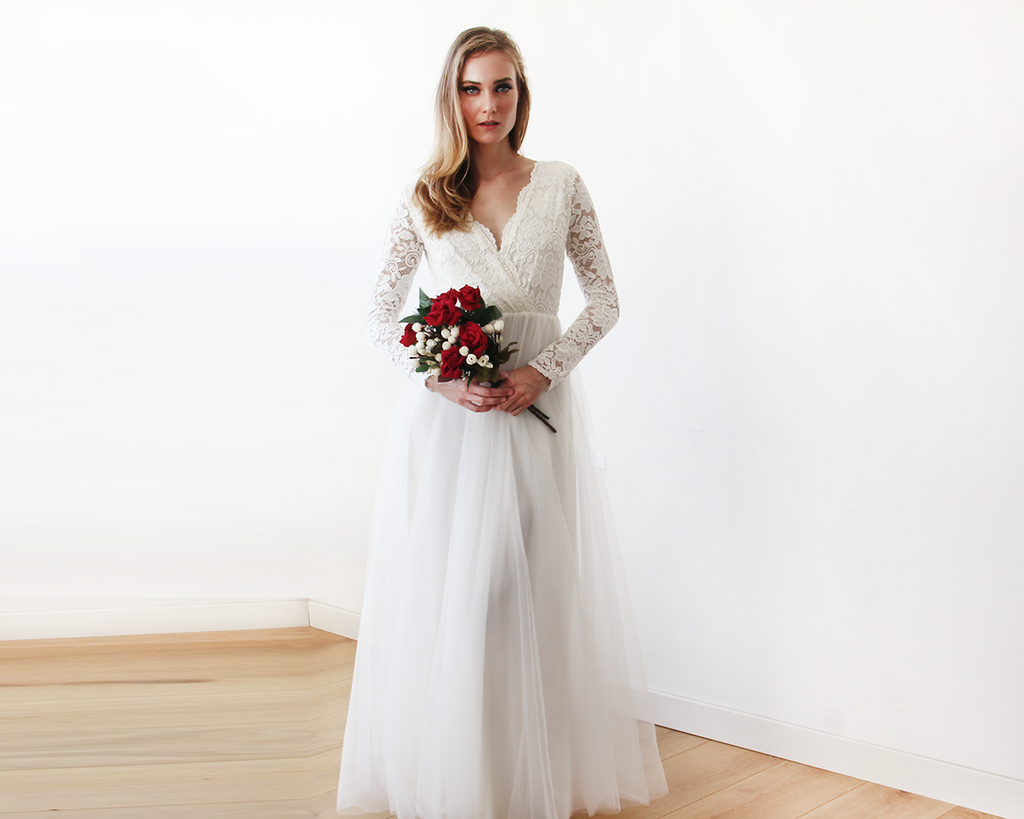 Ivory tulle and lace long sleeve wedding maxi dress