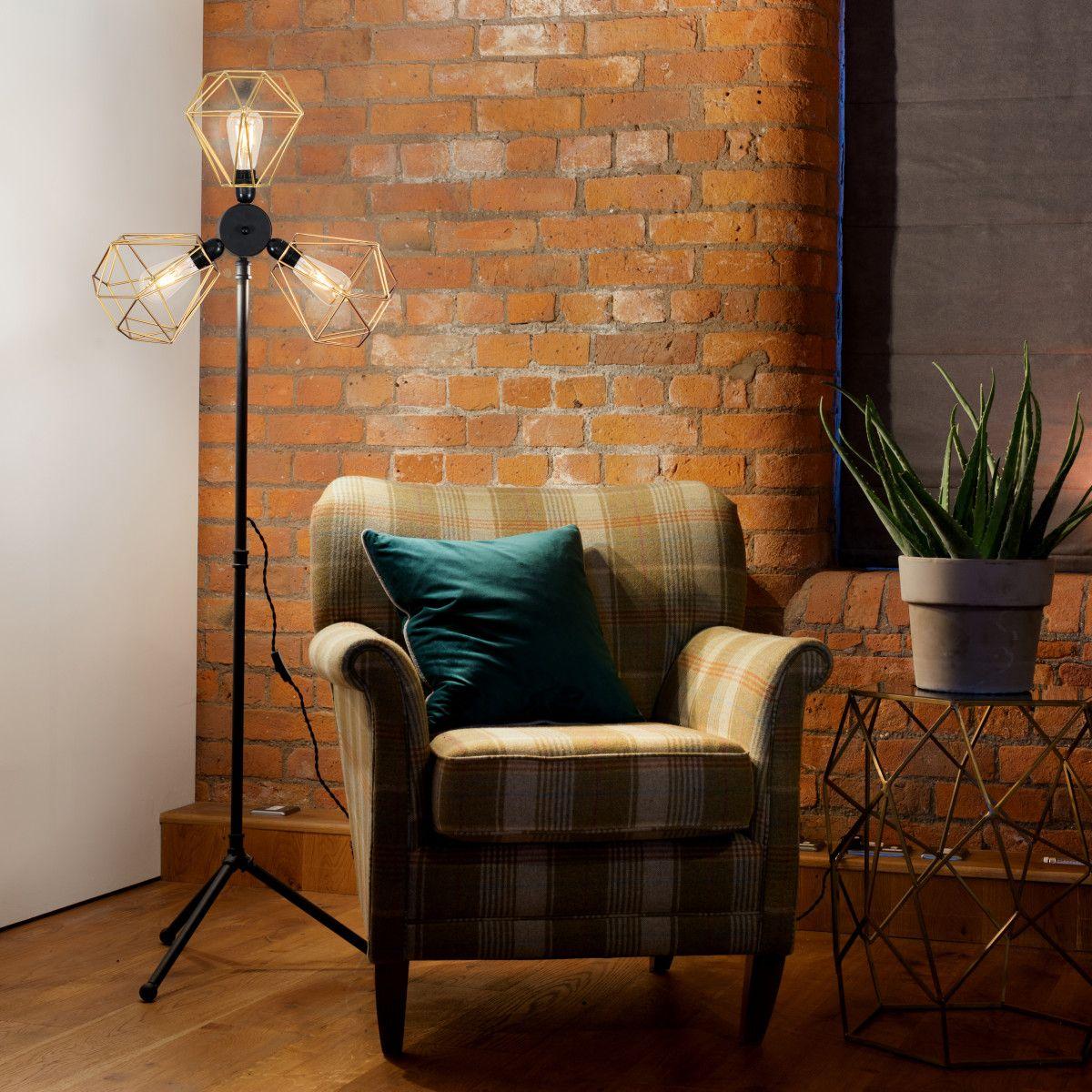 Irwin Steampunk 3 Way Floor Lamp With Gold Diablo Shades