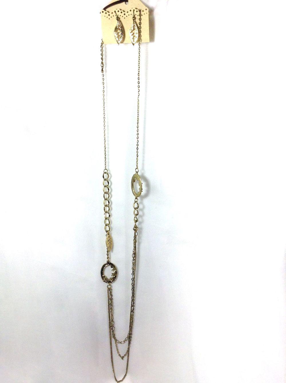 Antique Brass Long Necklace and Earring Set via aladyloves.com