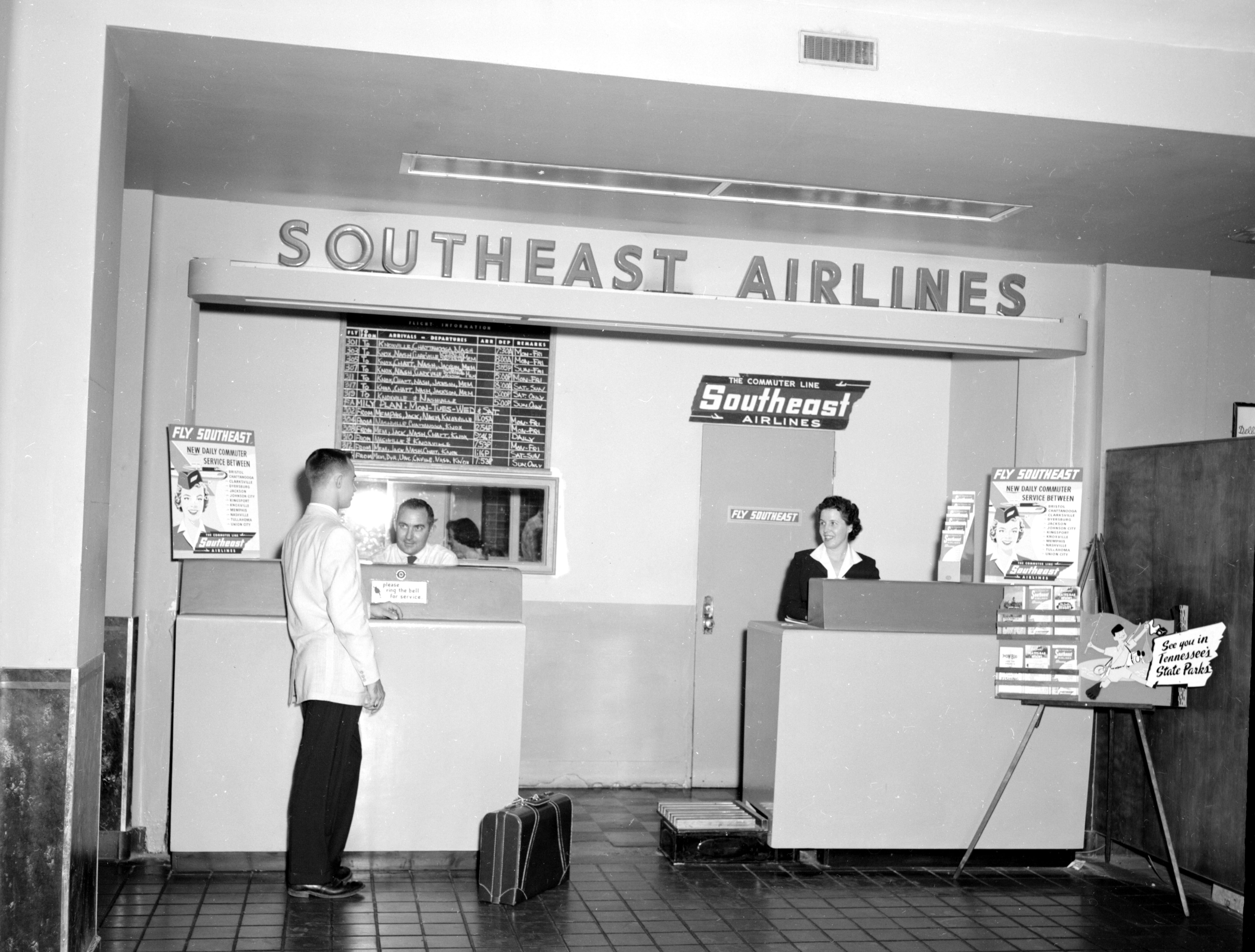 Southeast Airlines counter at the TriCities Regional