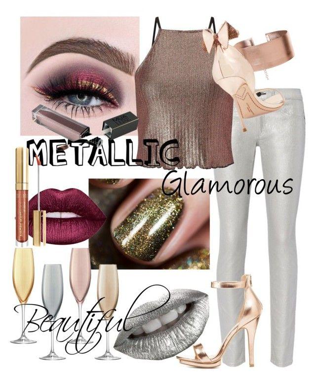 """Metallic"" by lotus-lotusflower on Polyvore featuring beauty, rag & bone, Miss Selfridge, LSA International, Lime Crime, Charlotte Russe, Sophia Webster and Milani"