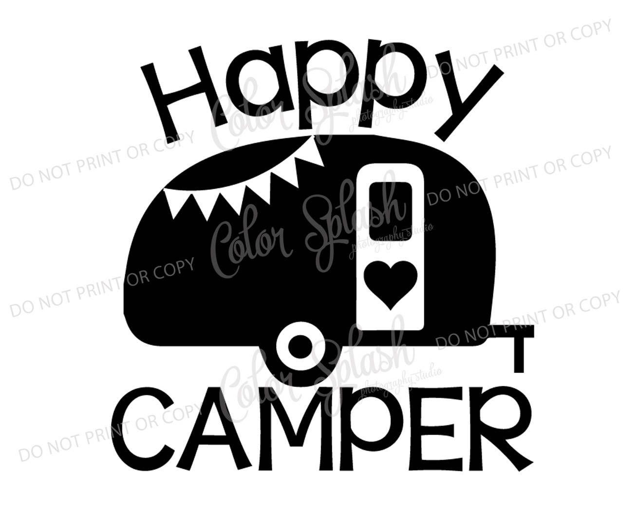 Happy Glamper Glamping Camper Camping Trailer Svg Dxf Png