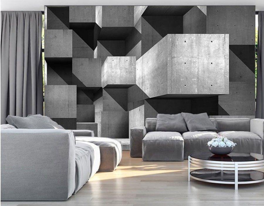 papier peint 3D gris design panoramique   Texture   Pinterest ...