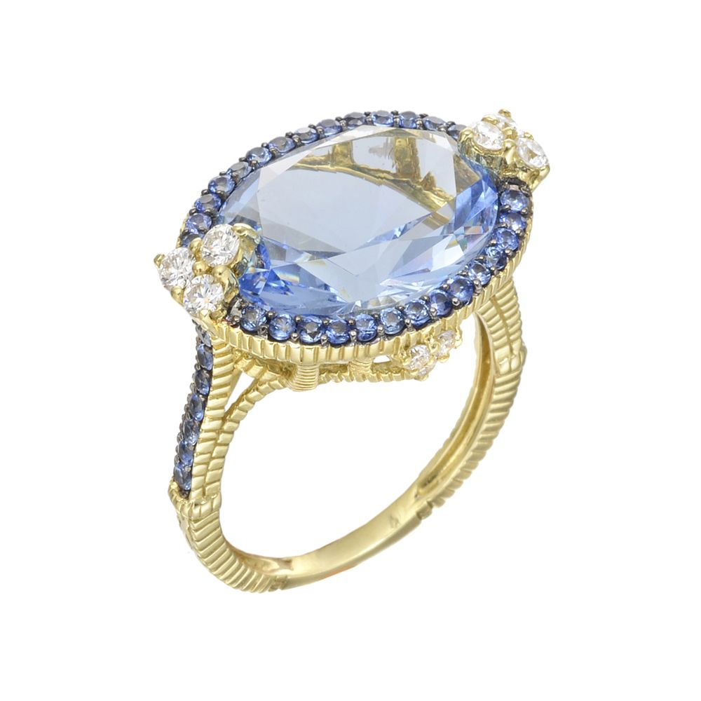 "Judith Ripka ""Monaco"" Blue Quartz & Sapphire Ring"