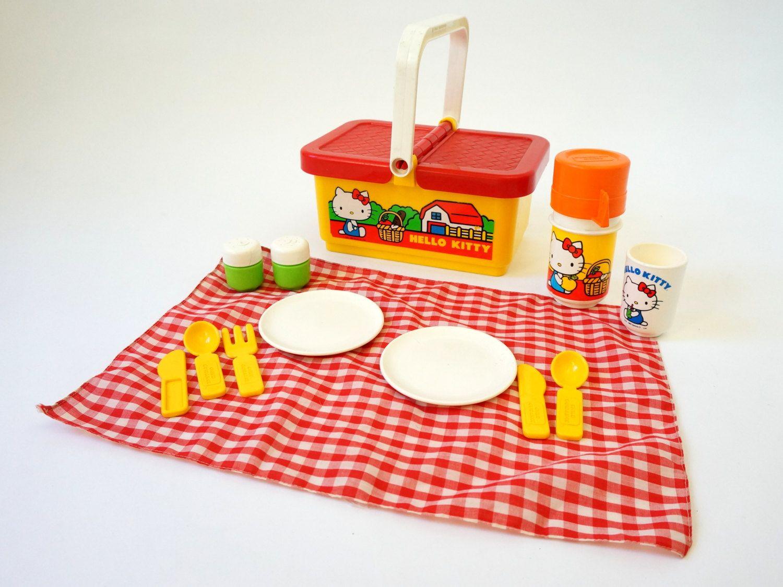 Toy Picnic Basket : Child guidance hello kitty picnic basket set s vintage