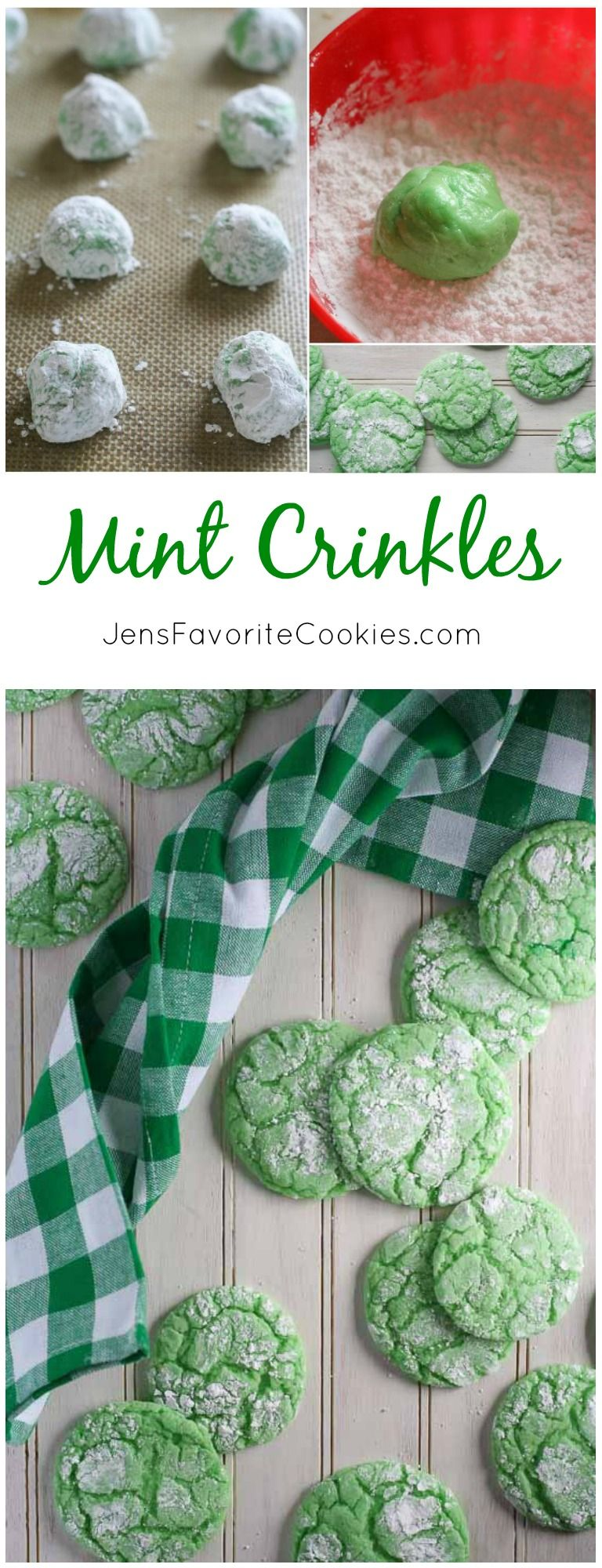 Mint Crinkles from JensFavoriteCookies.com - a fun and easy way to customize your cake mix cookies!  Great for St. Patrick's Day.