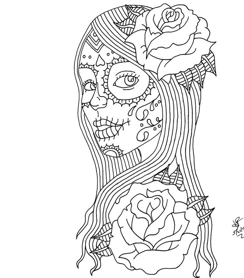 Day Of The Dead Girl By Itsanocean On Deviantart Skull Coloring Pages Mandala Coloring Pages Halloween Coloring Pages