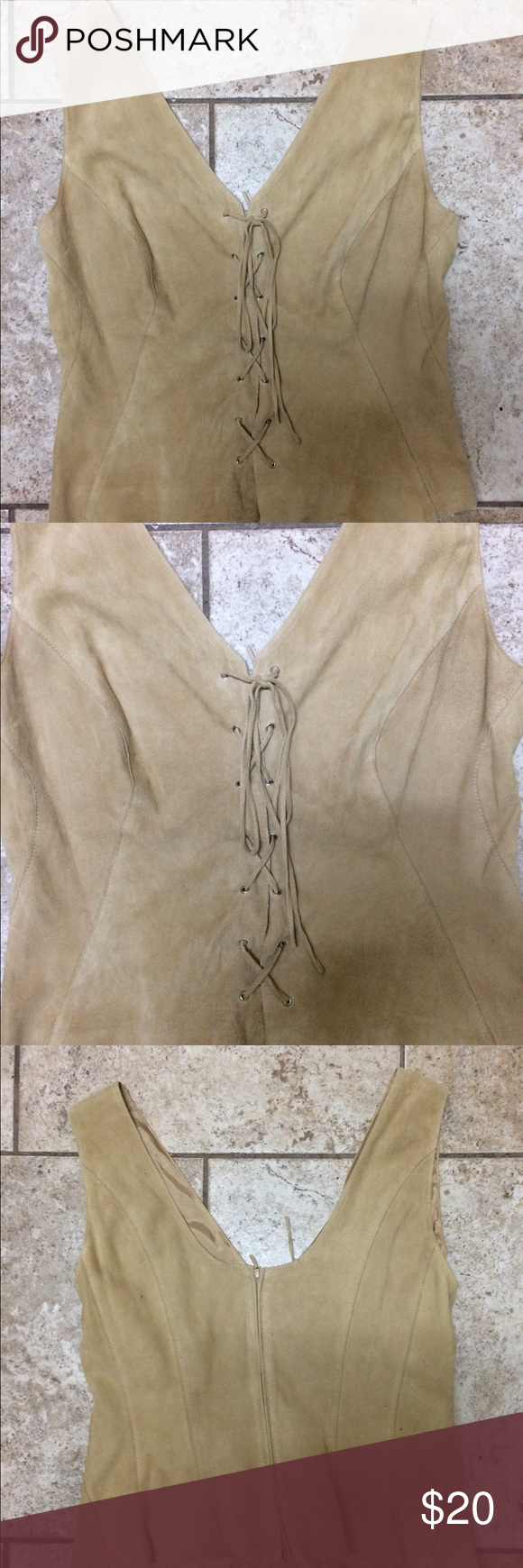 Trixi Shober camel suede lace up vest Trixi Shober suede lace up vest camel size 8 can be worn all year round looks great with jeans and really cool boots very good condition dry clean only so cool looking on thanks for peeping💄 Other