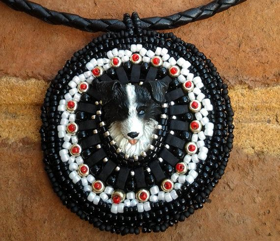 Beaded Border Collie Dog Necklace Pendant by BeadingStone on Etsy, $60.00