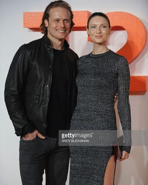 New #Outlander #SamHeughan & #CaitrionaBalfe pic on the red carpet arriving to attend the world premiere of #Trainspotting ~ #Edinburgh~