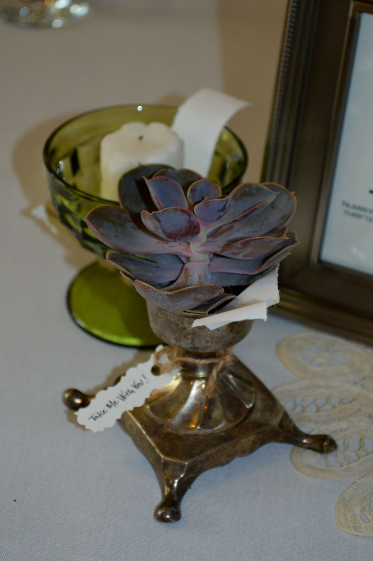 This creative couple who had their reception at the Leavenworth Riverfront Community Center in June 2014 used succulents and other plants  inside thrift-store vases as centerpieces for their guests to take home.