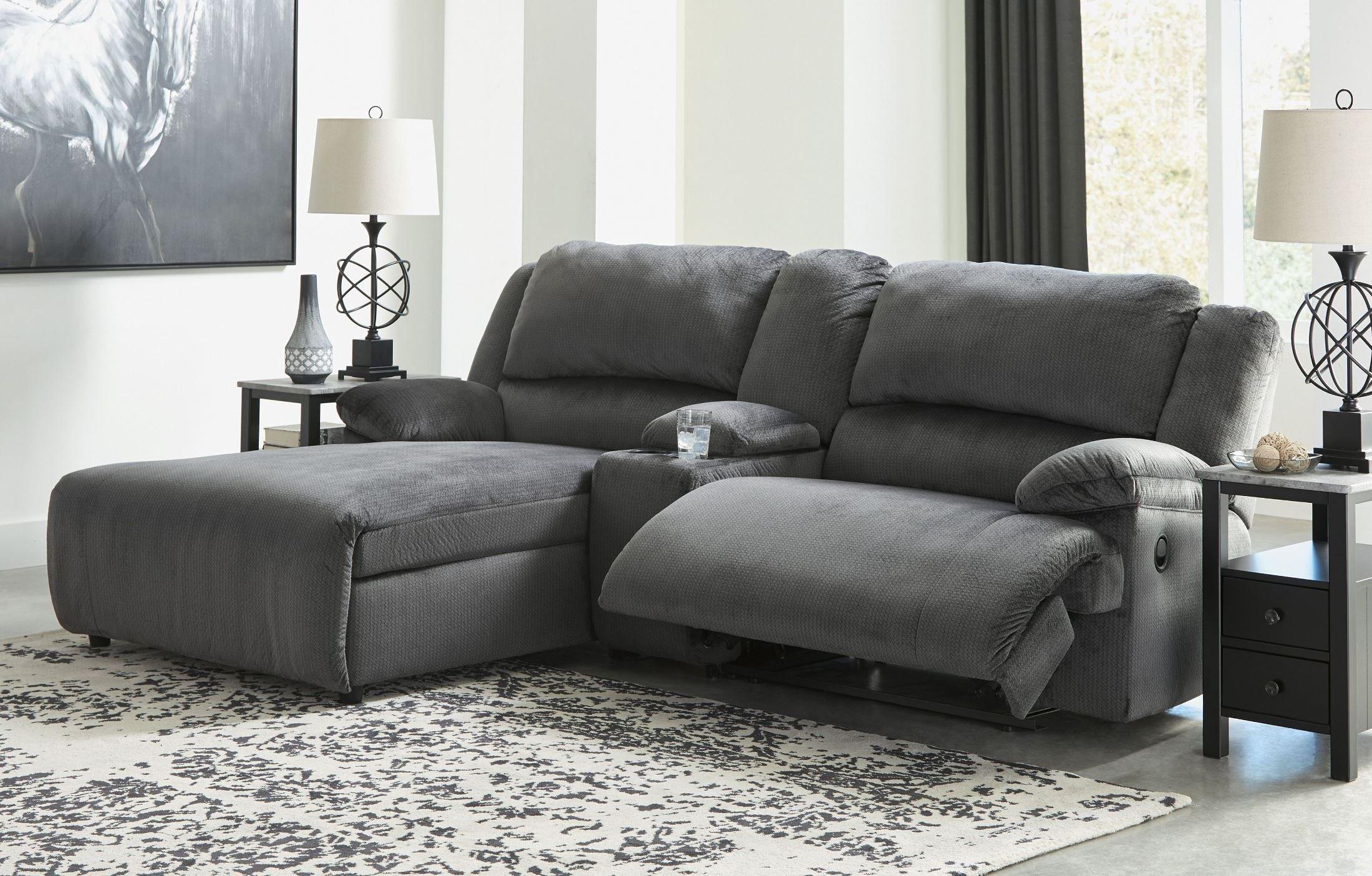 Clonmel Charcoal Small Power Reclining Raf Sectional In 2020 Reclining Sectional With Chaise Sectional Sofa With Recliner Small Sectional Sofa