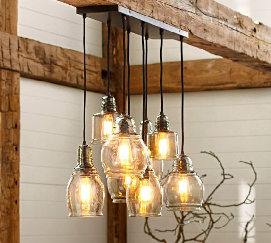 Paxton glass 8 light pendant pottery barn for over for Over dining table pendant lights