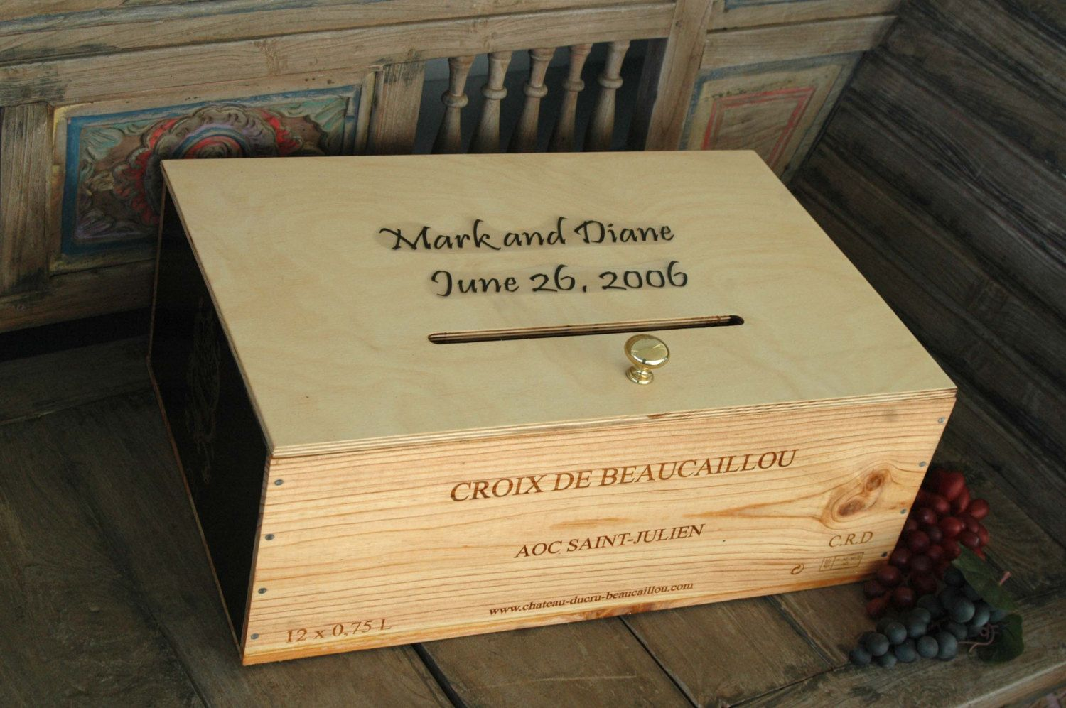 Wine Crate Storage Box From Napa Valley Wedding Card Box
