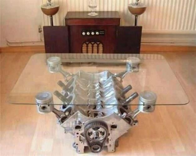 35 Clever Ideas For Using Car Parts As Home Decor Man Cave Coffee Table Man Cave Decor Engine Coffee Table