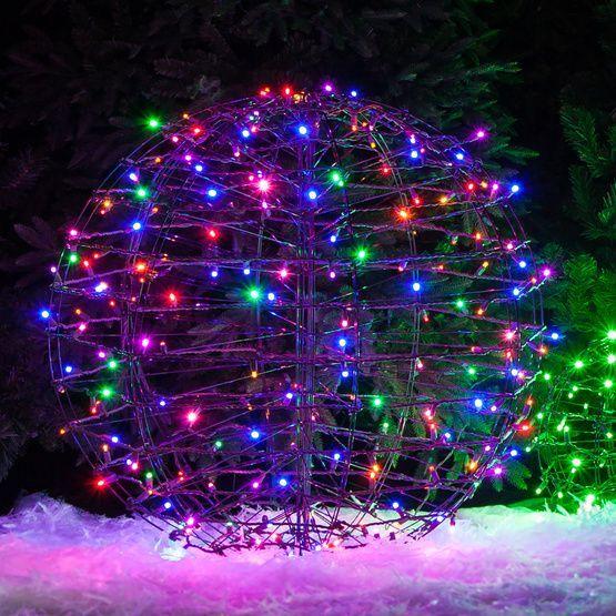 Multicolor led christmas light ball fold flat brown frame christmas lights etc