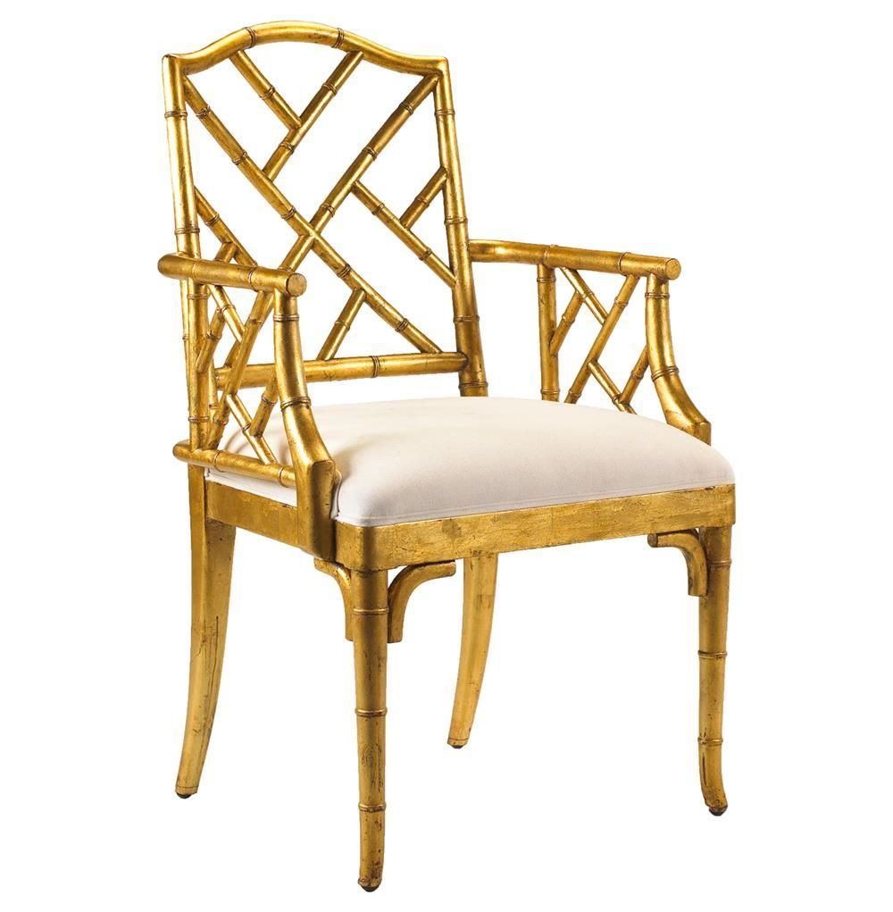Chinese Chippendale Hollywood Regency Gold Bamboo Dining Arm Chair Bamboo Chair Dining Chairs Bamboo Dining Chairs