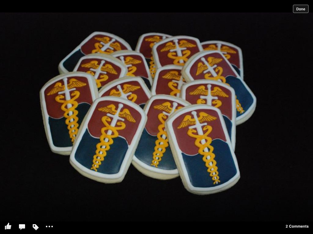 Military Unit Patch Sugar Cookies For The 65th Medical Brigade