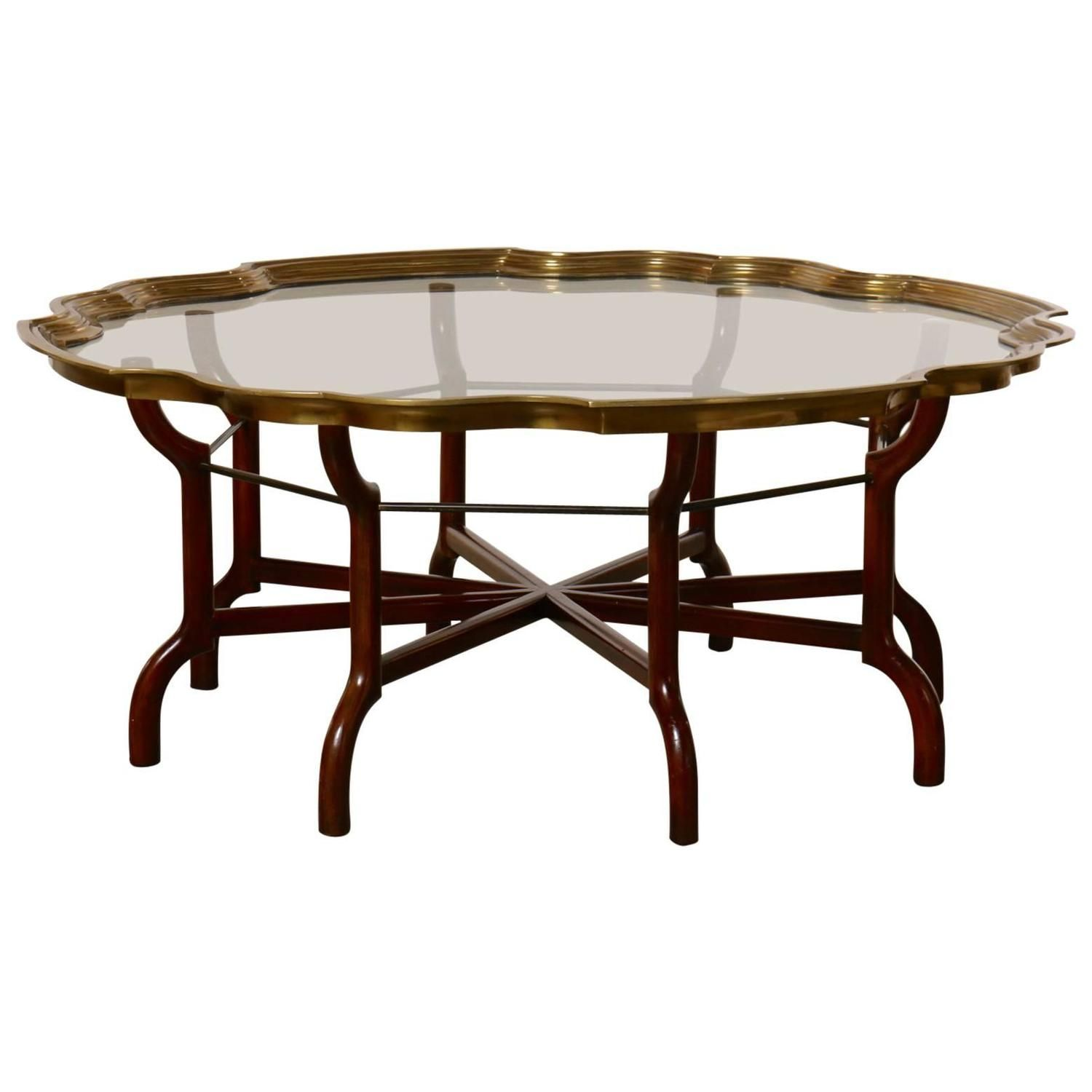 Best Baker Brass And Glass Round Tray Top Coffee Table For Sale 400 x 300