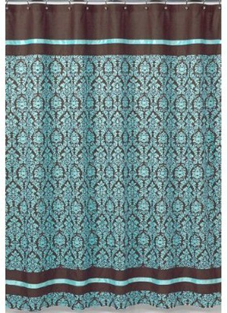 Turquoise And Brown Bella Kids Bathroom Fabric Bath Shower Curtain