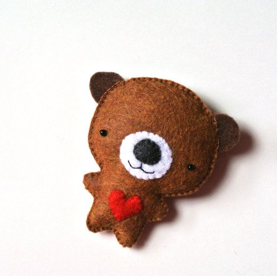 Bear Felt Brooch Golden Brown Bear Pin Red Heart Felt by mikaart $18.99