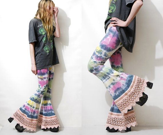 Upcycled Bell Bottoms Solar Garlic hand tie dyed and one-of-a-kind