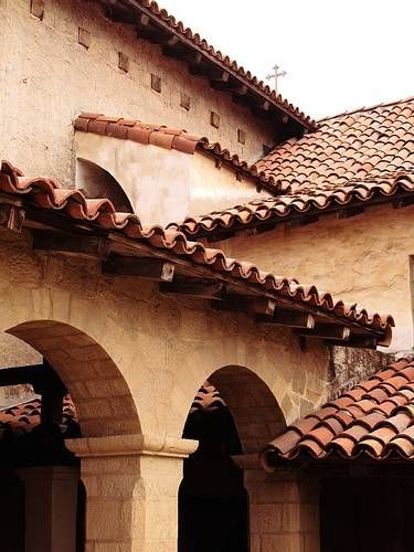 Spanish style clay barrel roof tiles exterior design for Spanish style roof tiles