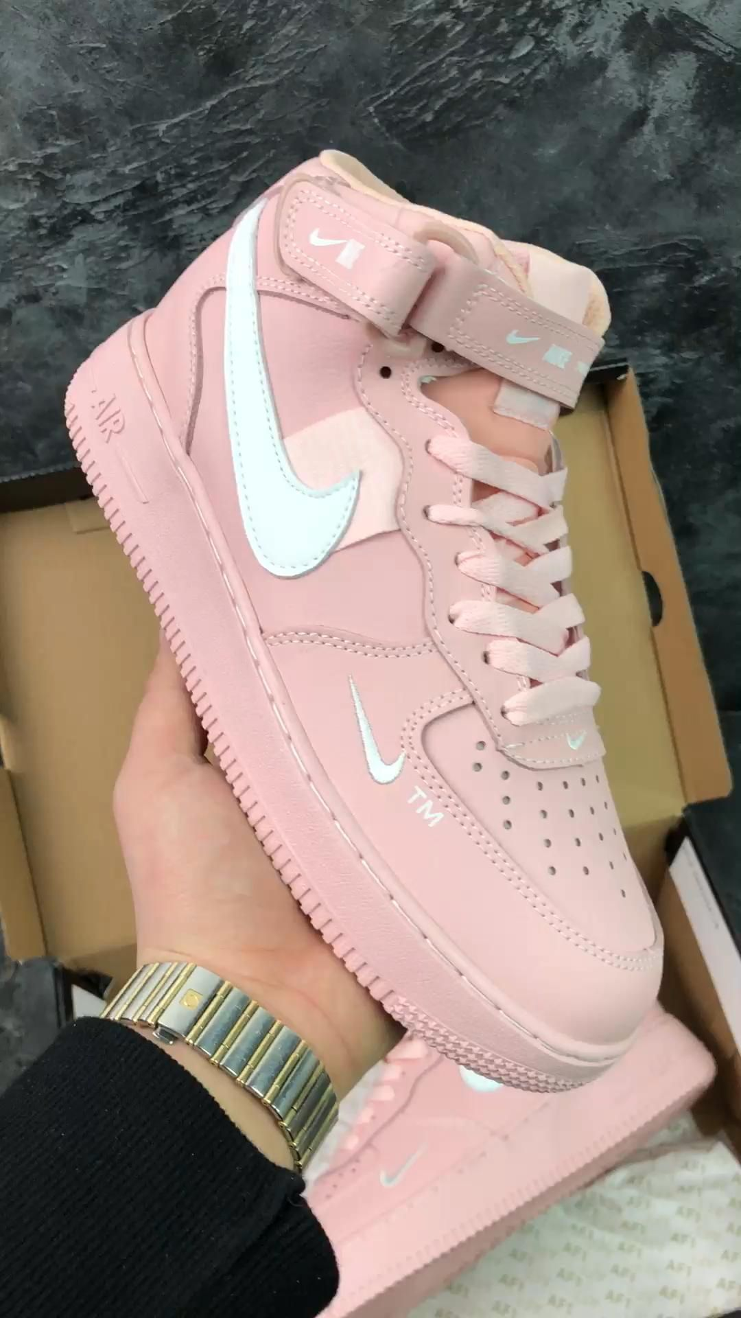 Nike Air Force 1 AF1 Pink White Running Shoes Womens