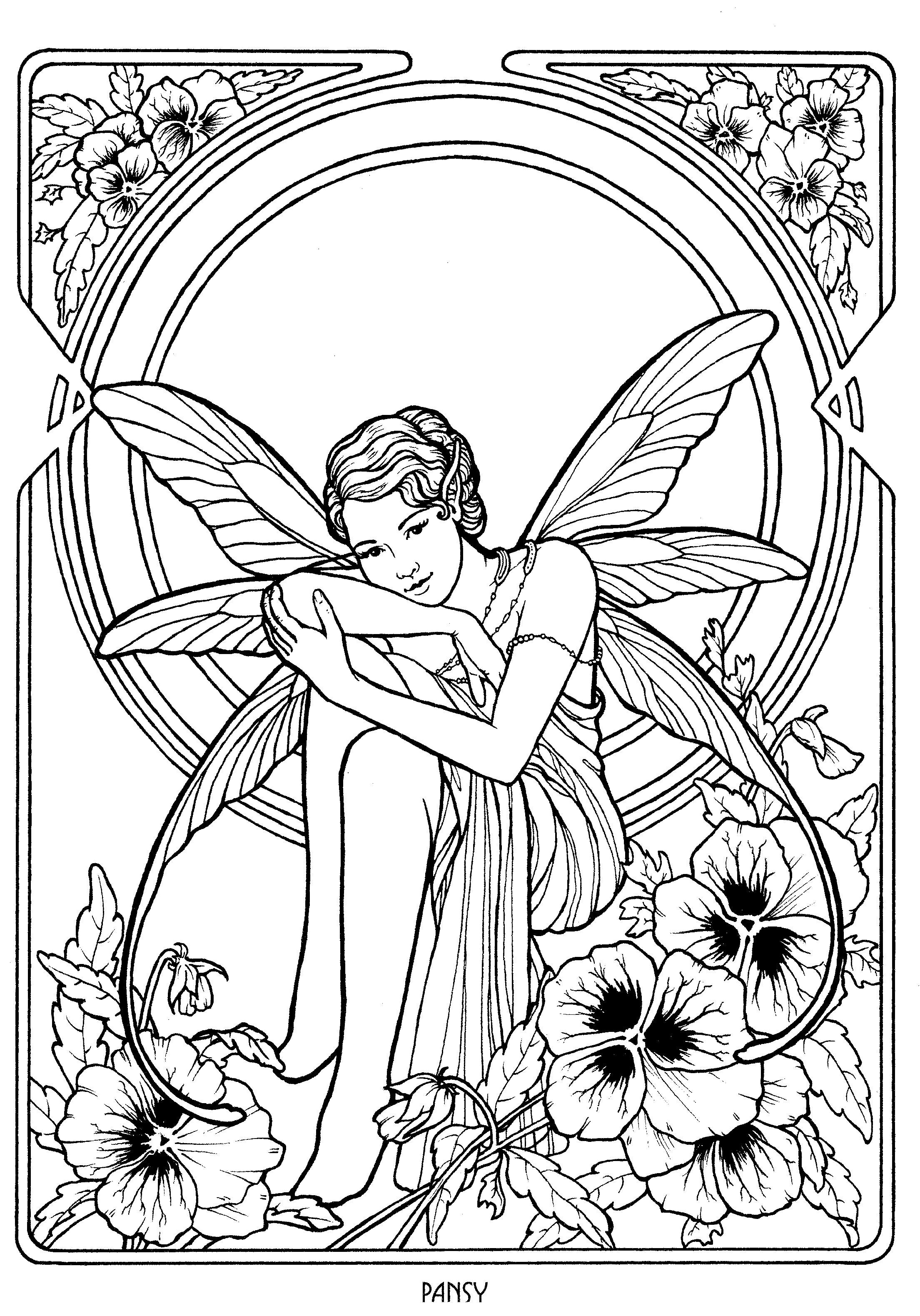 Fairy 20 | Fairy coloring pages, Fairy coloring book ...