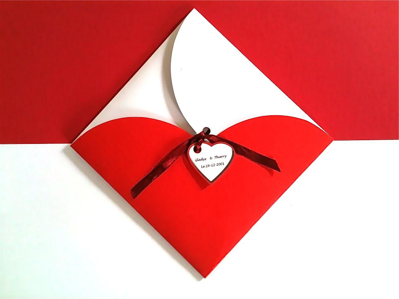 Faire Part Mariage Coeur Rouge