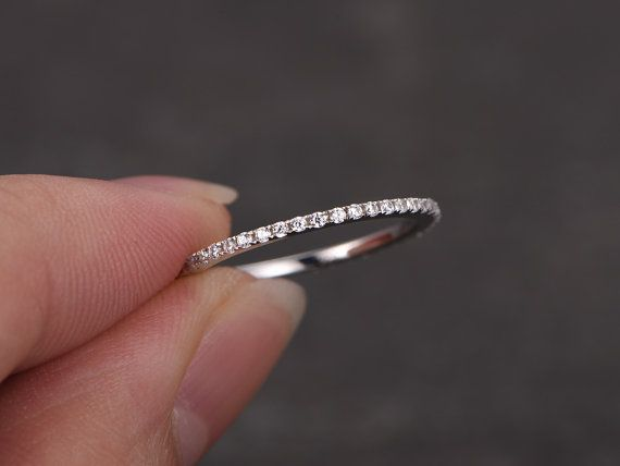 Stacking thin wedding band petite 1mm width full eternity ring